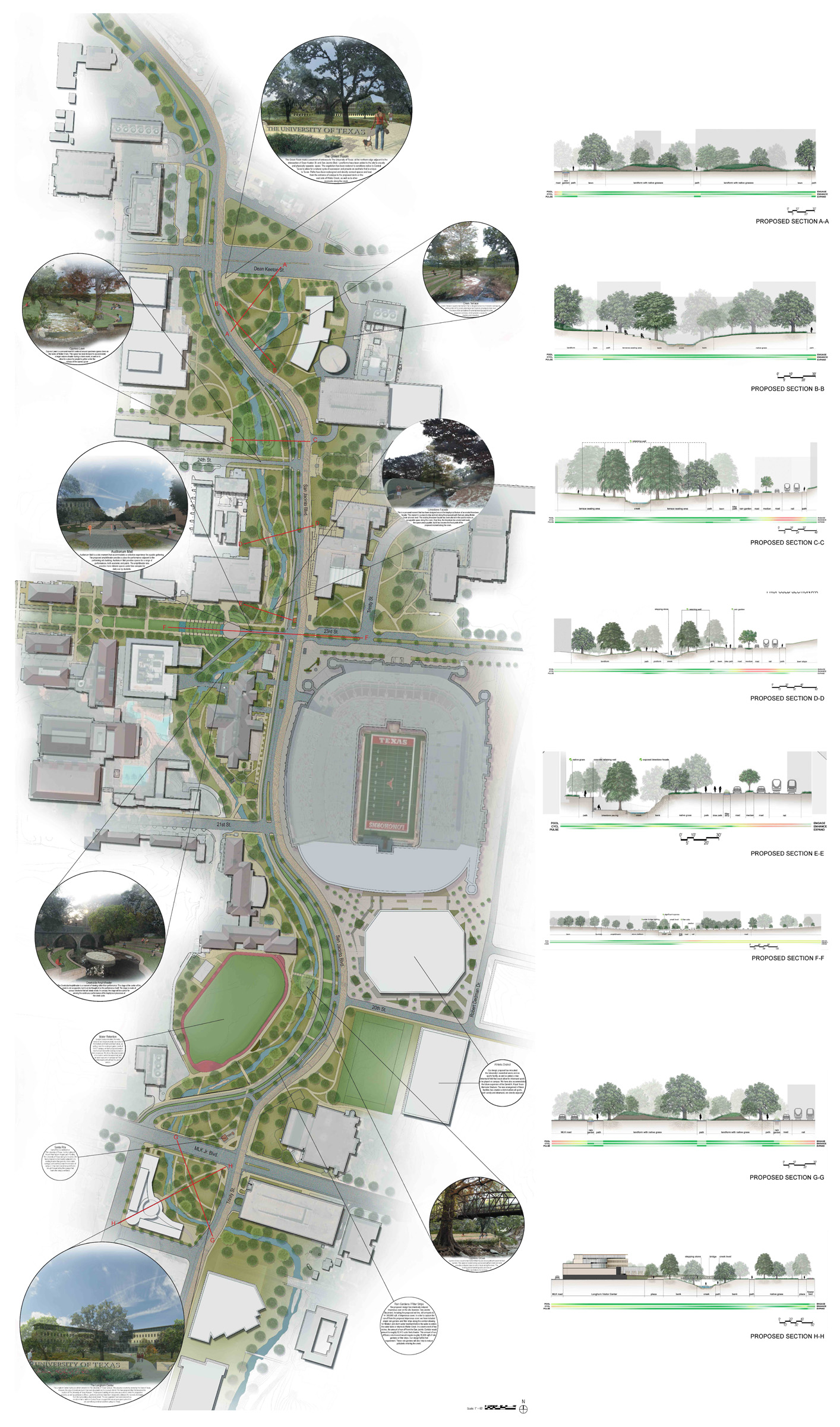 01 Master Plan Sections And Perspectives Texas Architecture Utsoa