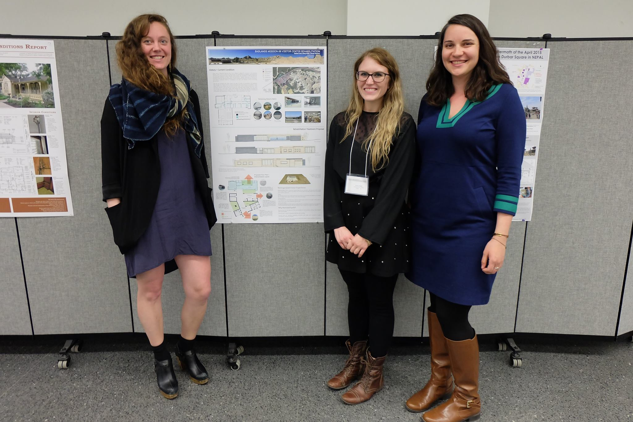Hannah Simonson MSHP '17, Kelsey Riddle MSHP '17 and Kathleen Conti MSHP '17 present their Badlands Studio project at the Center for Heritage Conservation Conference in College Station, TX (Feb. 2016)