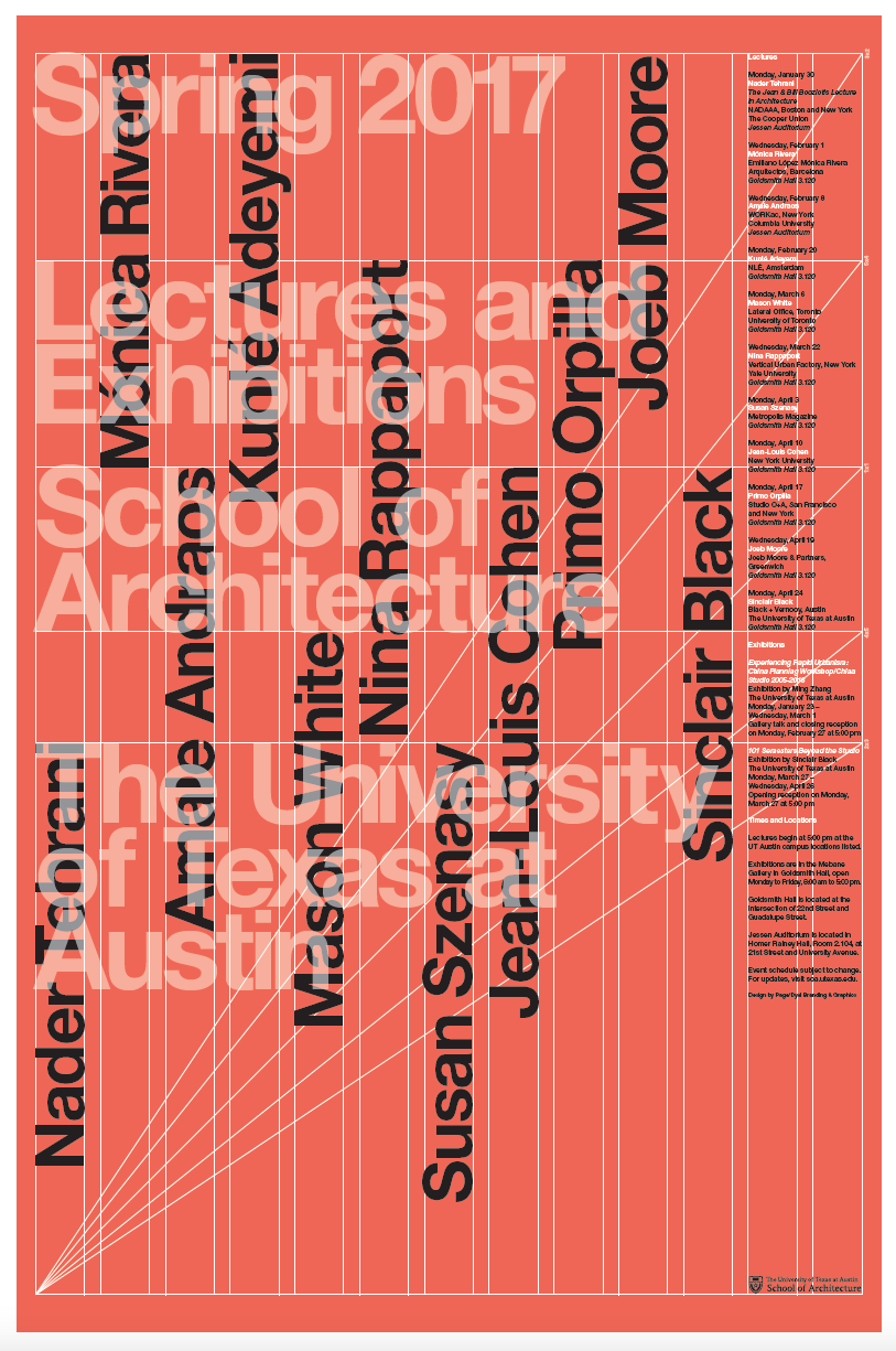Lectures and Exhibitions Poster Designed by Page/Dyal  @UTSOA