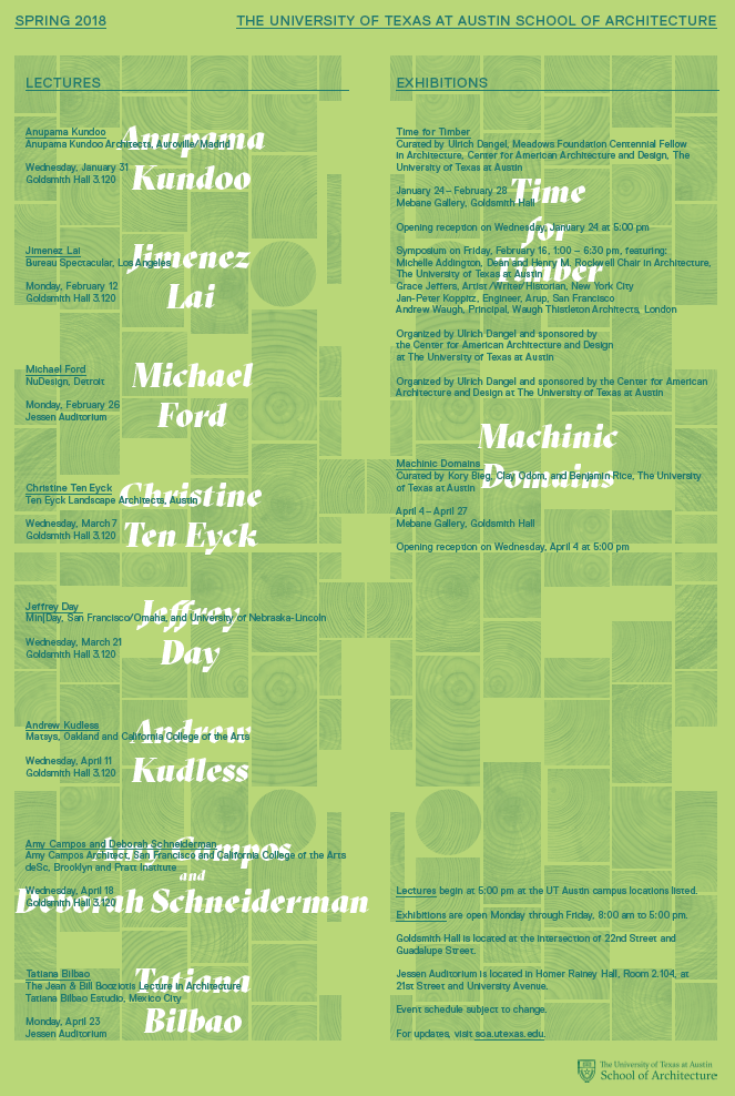 Spring 2018 Lectures and Exhibitions Poster graphic  @UTSOA