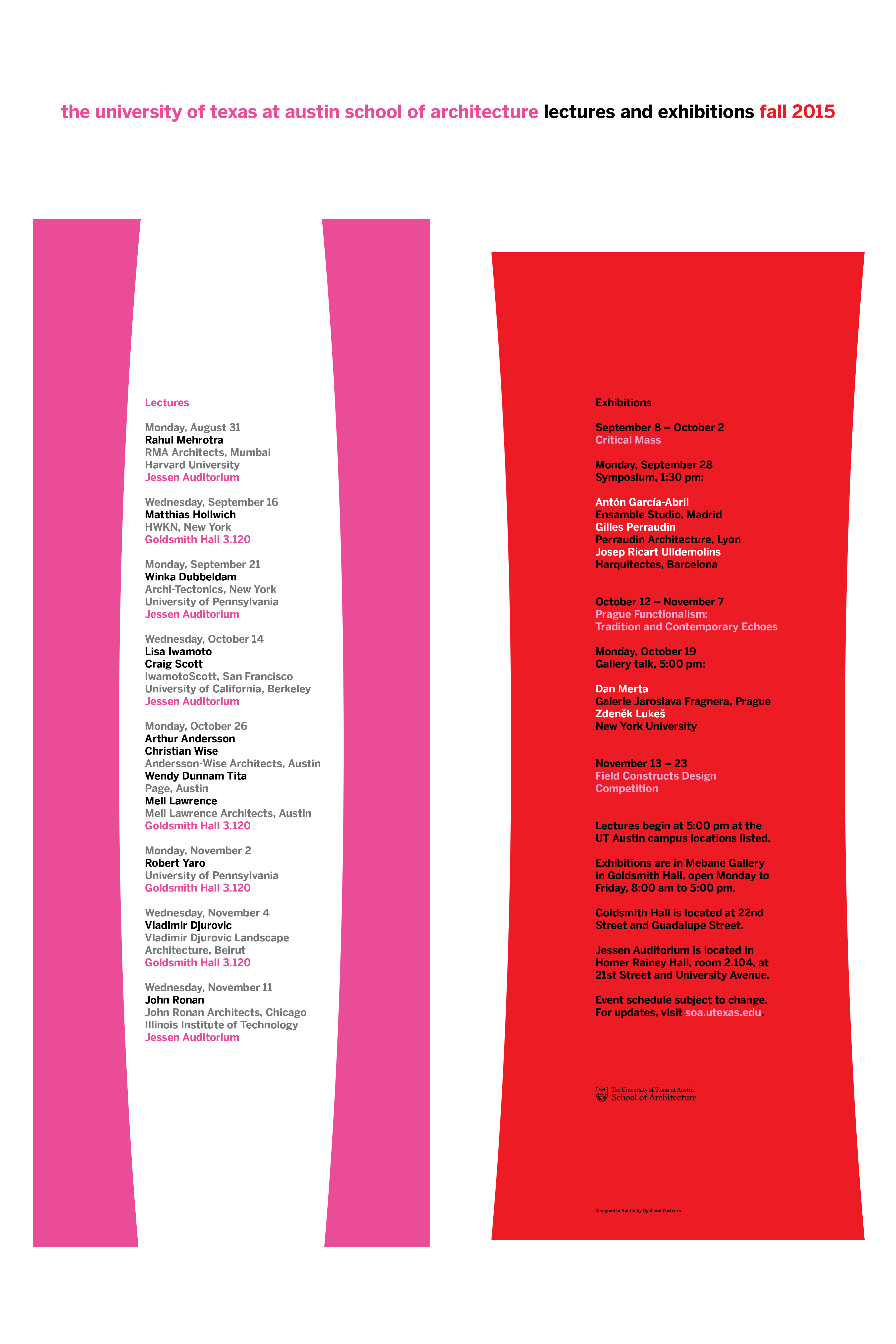Fall 2015 Lectures and Exhibitions  @UTSOA