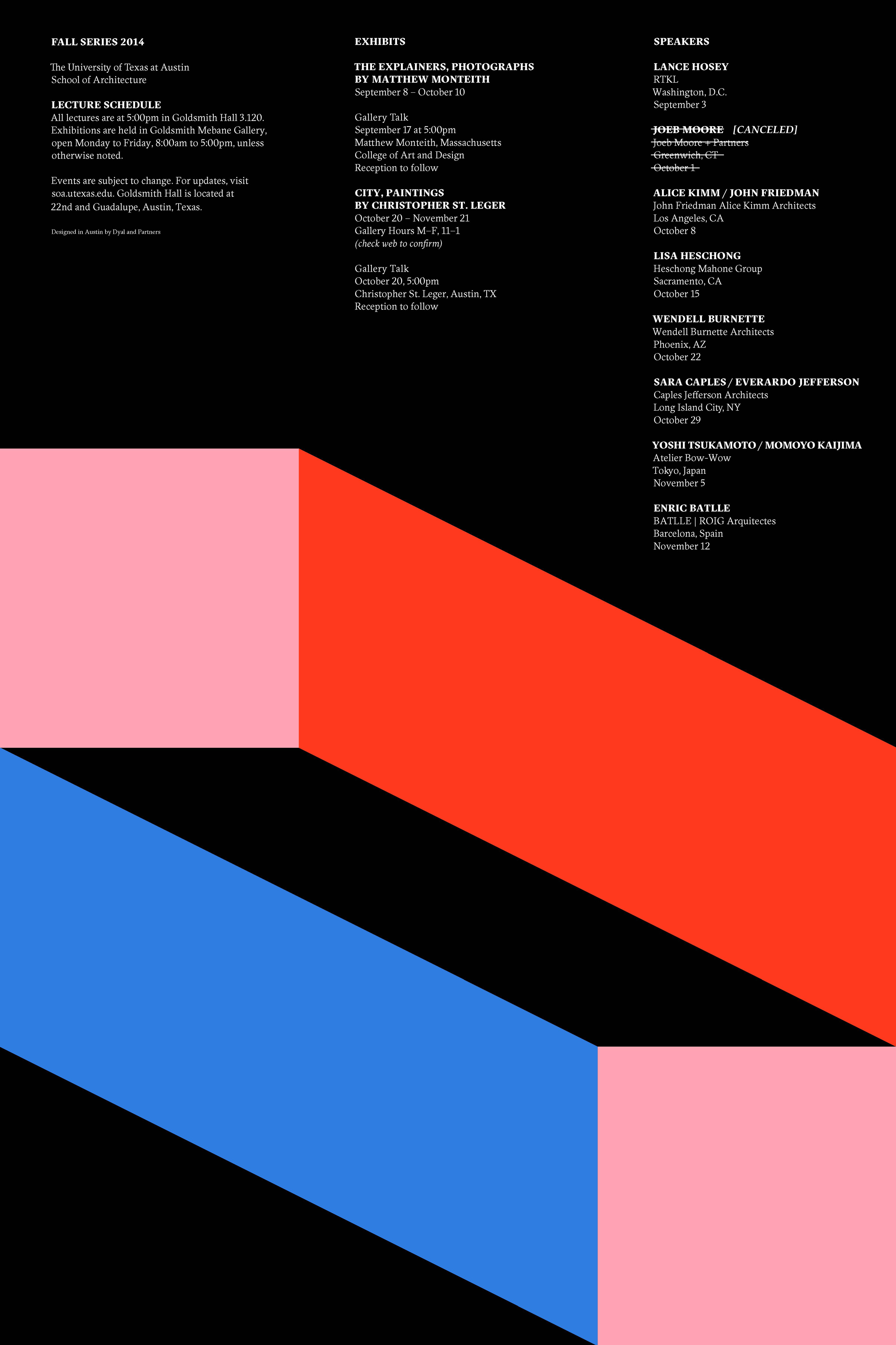 Fall 2014 Lectures and Exhibits Poster  @UTSOA