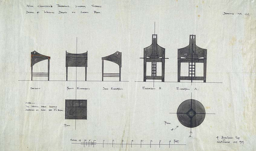 Furniture drawing, Sketches from the Mackintosh Collection, Charles Rennie Mackintosh, England, 1900-1911