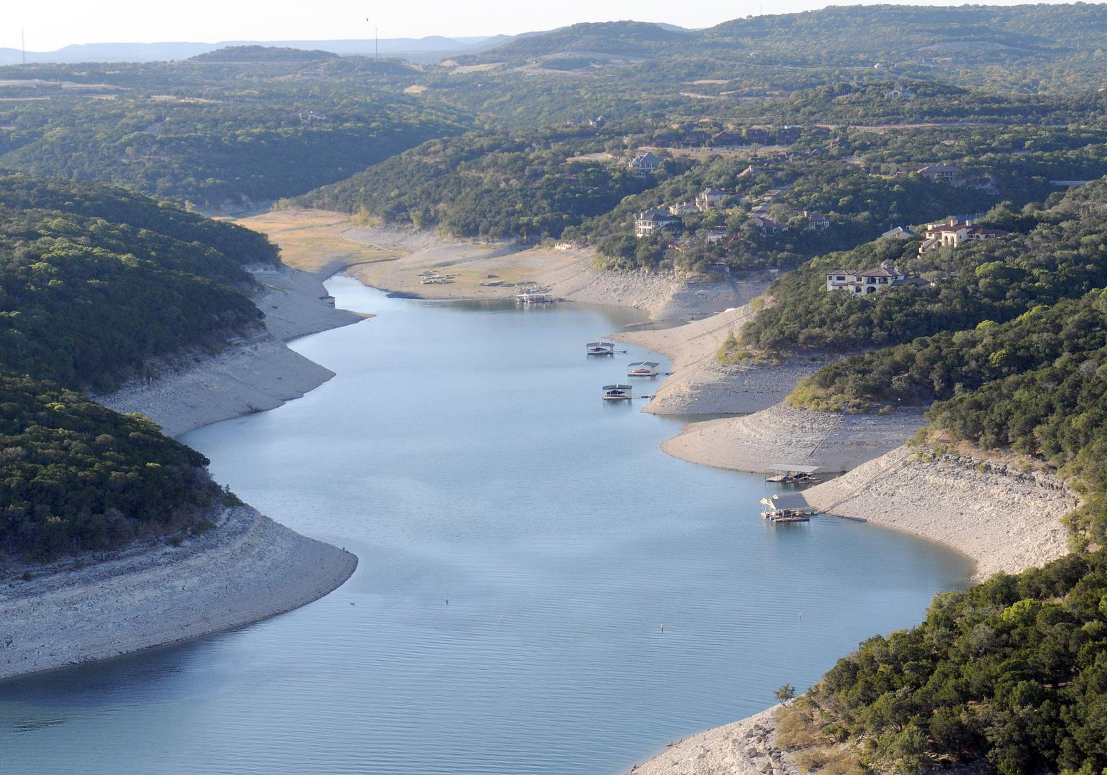 Photo of drought-impacted Lake Travis