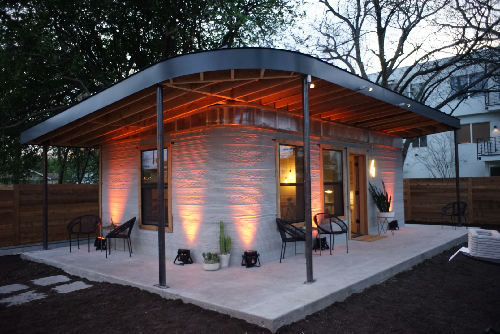 An image of ICON's first permitted 3D-printed home in the US.