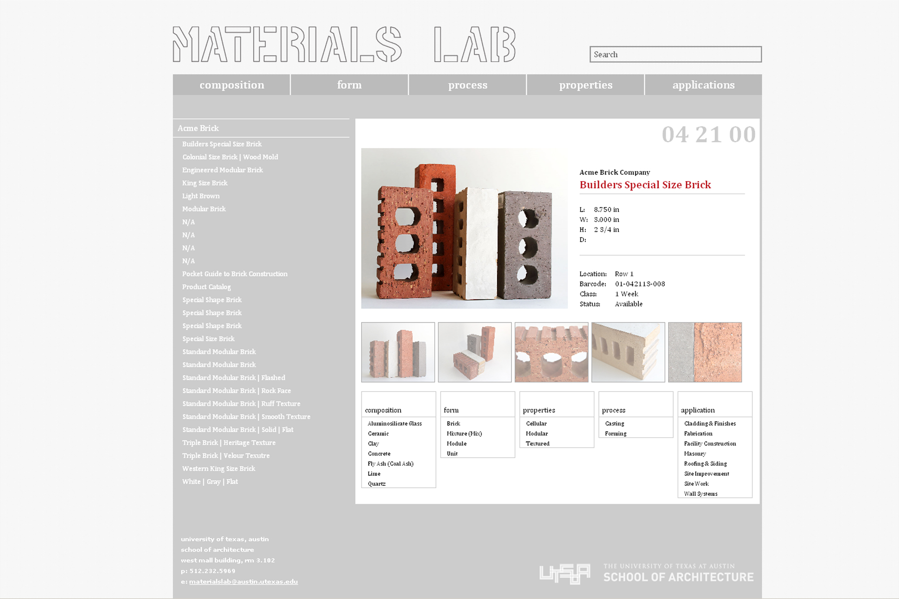 All material samples are represented on our online database