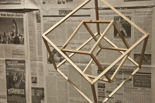 Wooden mobile of nested cubes