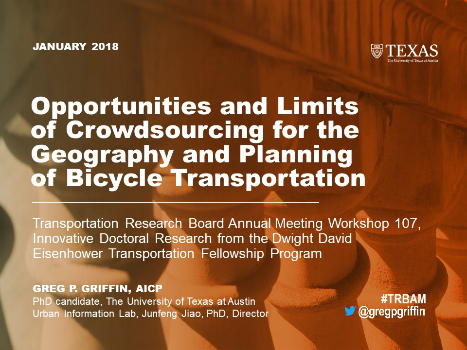 Greg Griffin's introductory slide on crowdsourcing bicycle transportation