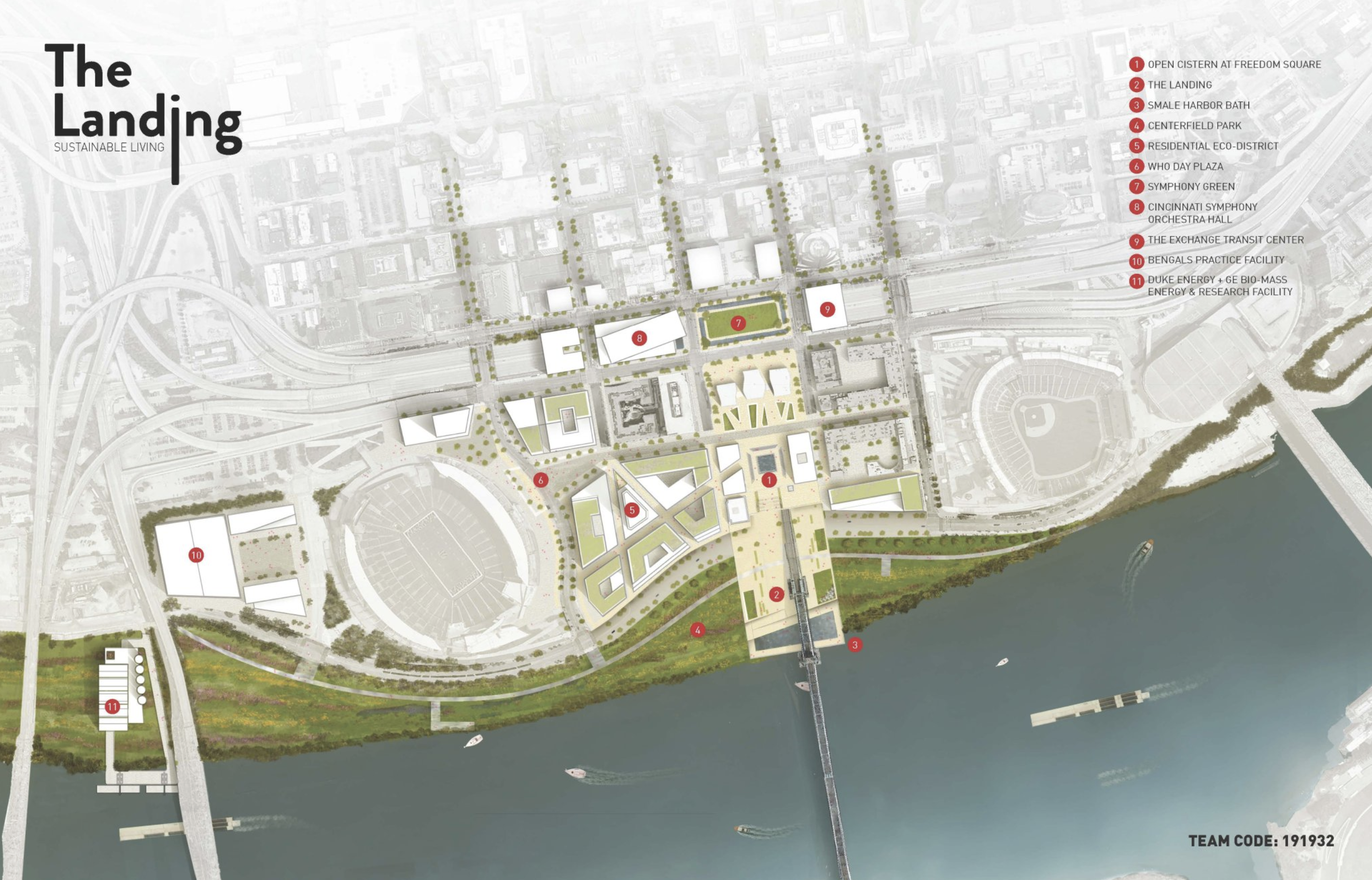 Rendering of The Landing ULI Proposal by Students
