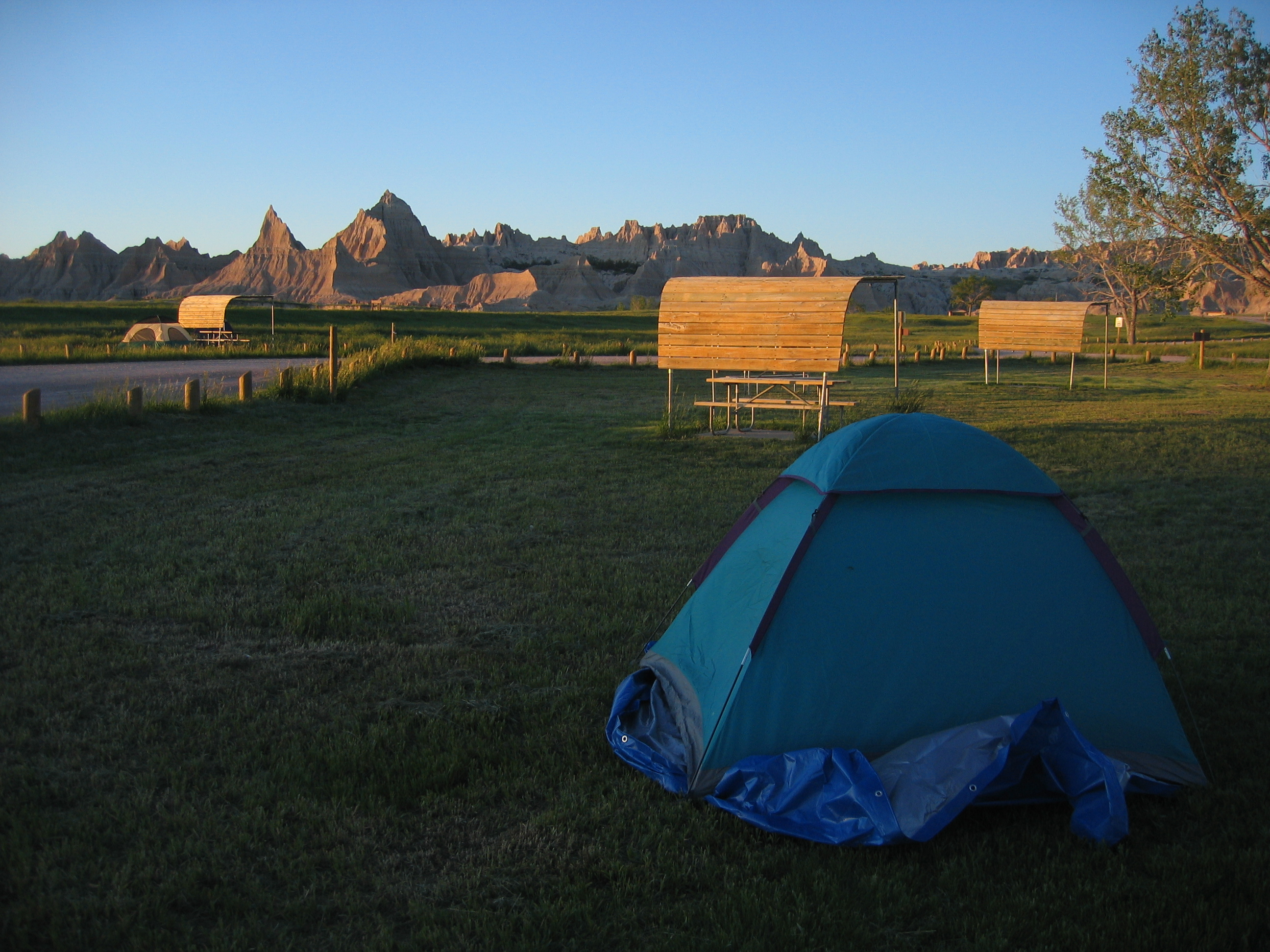 Tenting in Campground of Badlands South Dakota
