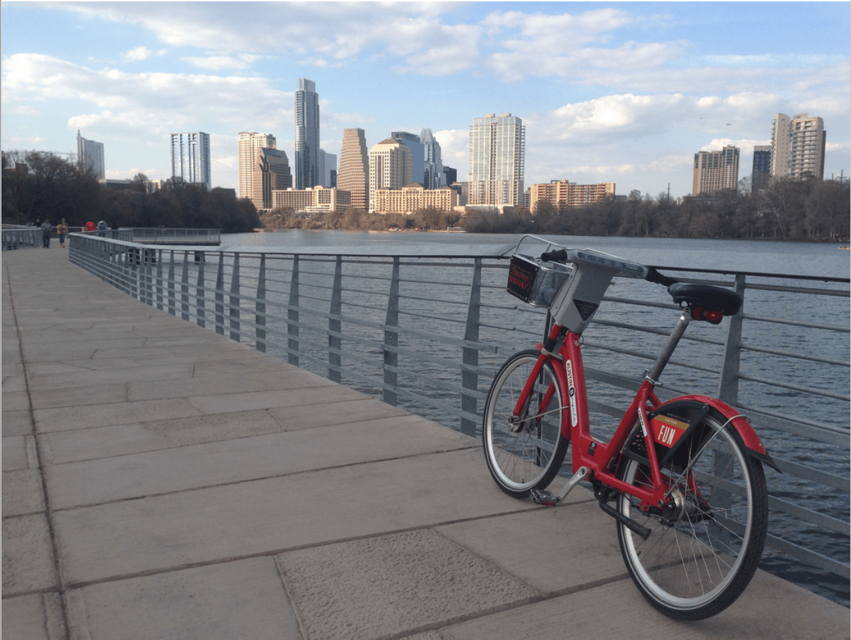 Bicycle in Foreground Skyline in Background