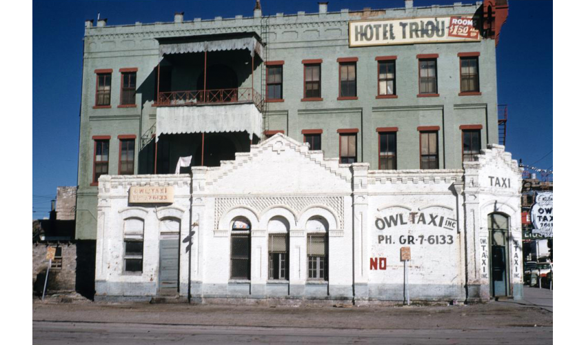 Hotel Triou and Owl Taxi Building, 3rd Street and Congress Ave, Austin, Marian Davis