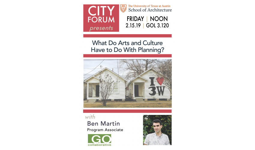 City Forum, Ben Martin, Arts and Culture in Planning