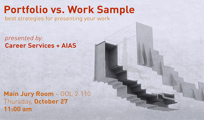 Portfolio versus Work Sample Workshop - October 27 at 11am - GOL 2.110