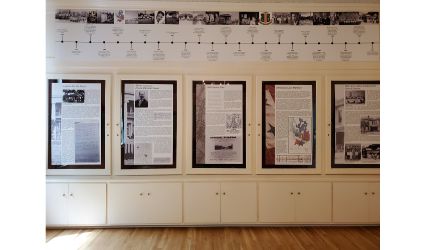 """Posters representing student research conducted in Dr. Tara Dudley's Fall 2019 seminar """"African American Experience in Architecture"""" on display at the Neill Cochran House Museum"""