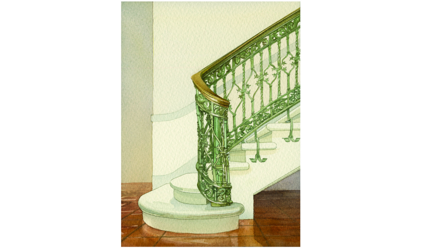 Battle Hall stairs, watercolor by Elizabeth Day.