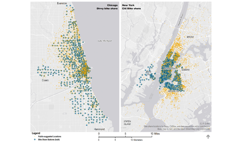Map of bike share location suggestions and built stations in Chicago and New York