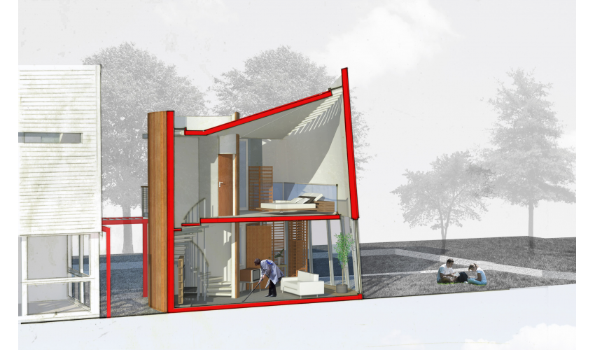 rendering, section perspective, residential