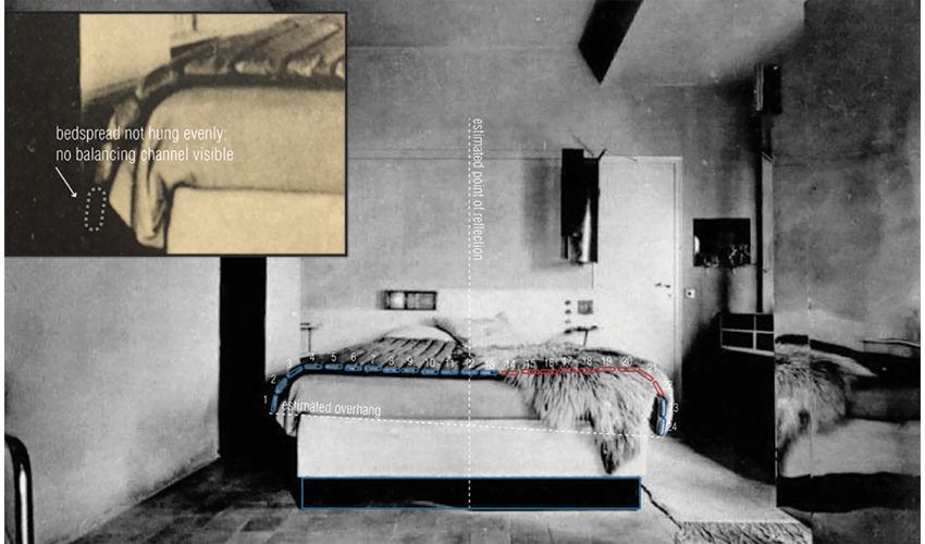 E.1027 Bedroom Picture from L'Architecture Vivante: Analysis of Bedspread
