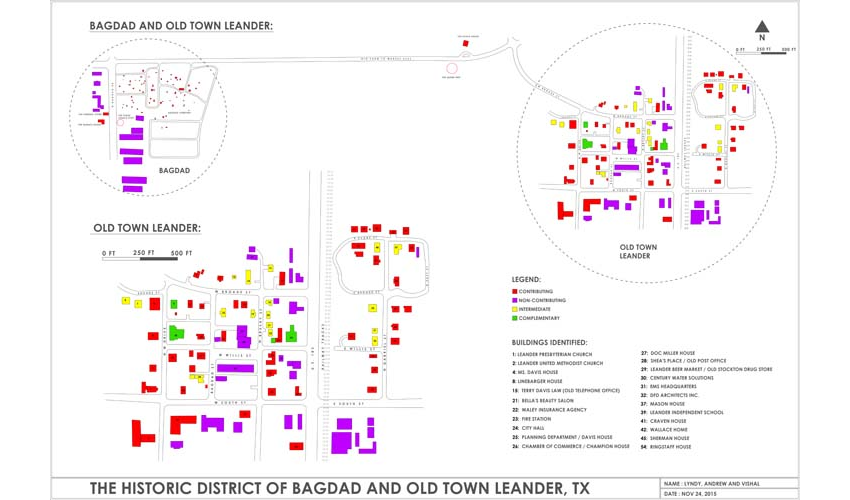 Map of classifications of building stock in Old Town Leander, and historical assets throughout Leander
