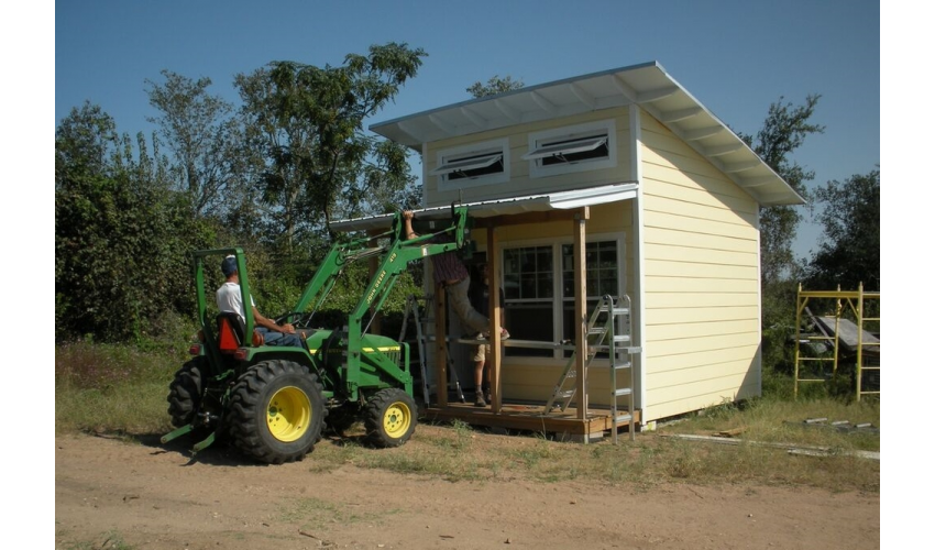 AREA-ER students' microhouse prototype for Community First Village