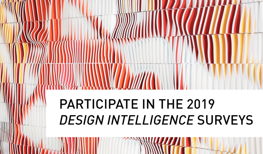 Participate in the 2019 Design Intelligence Surveys, text on ONDA wall photo