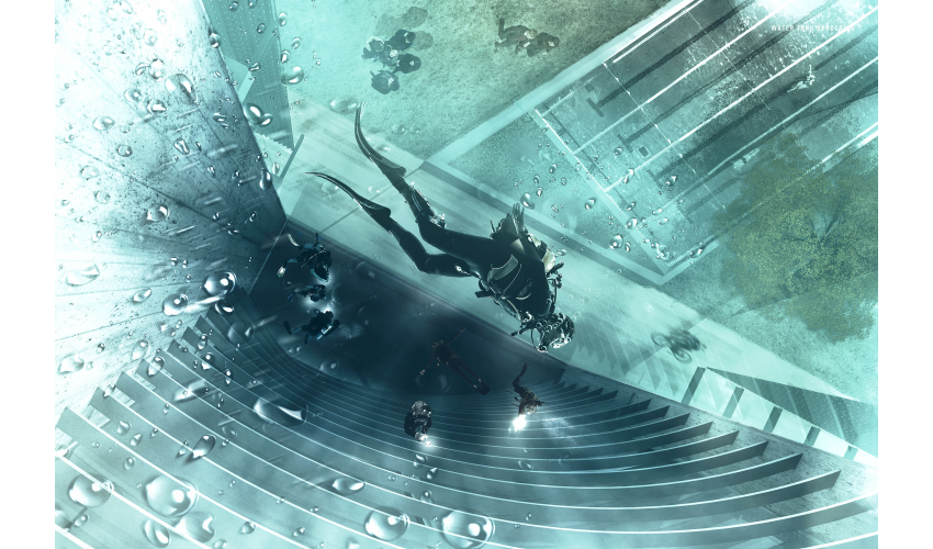 Rendered view in diving tank