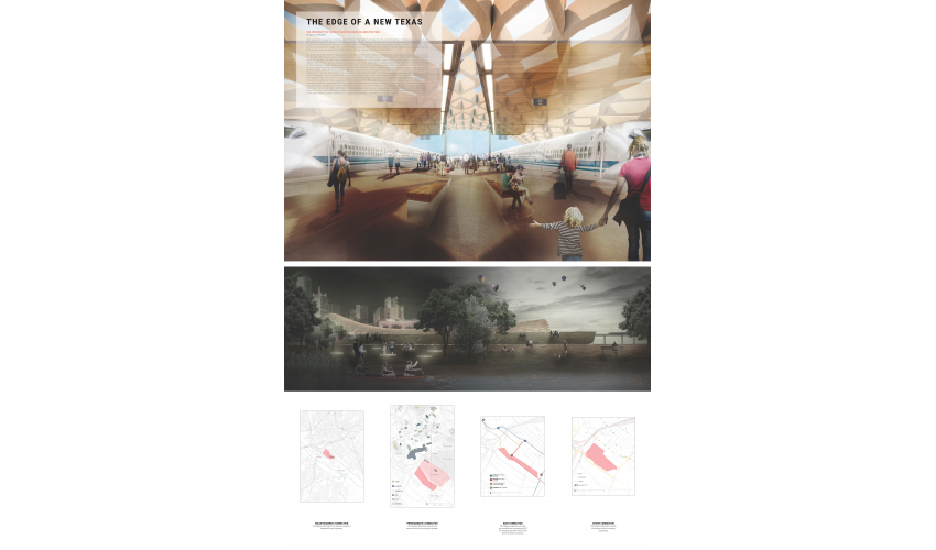 UTSOA students won the Urban Planning Award in a design competition sponsored by Texas Central High-Speed Rail.