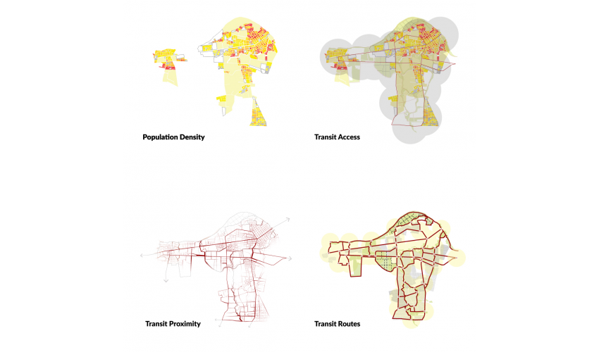 Population Density, and Proposed Transit Corridors