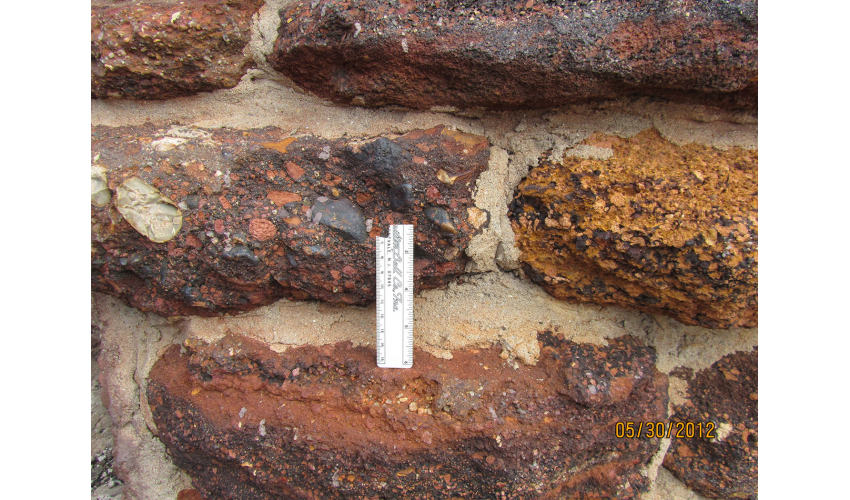 Close-up of sandstone after the wildfire
