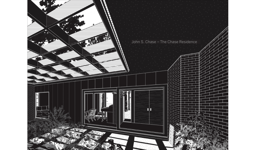 Black and white drawing of the interior courtyard of John S. Chase's modernist home with light filtering into the courtyard from above