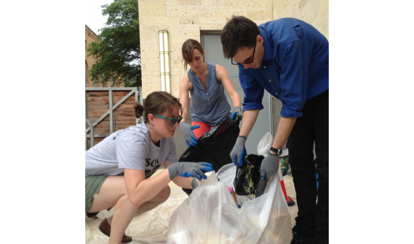 Photo of students conducting a waste sort.