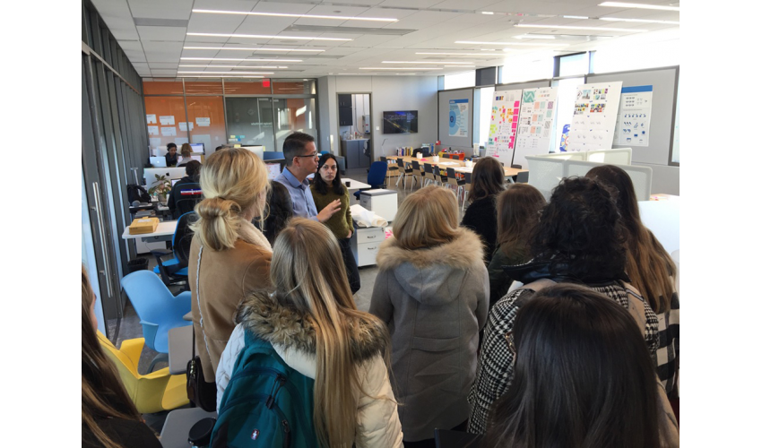 Stacey Chang and Charu Juneja lead students on a tour of the Design Institute for Health located in the Health Discovery Building