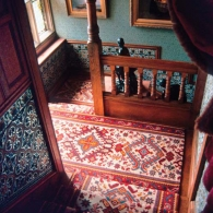 Stairway detail at Cragside, Norman Shaw, Northumberland, England, 1869.