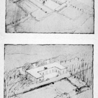 Two versions of a house with garden for himself at Werder, Germany, Ludwig Mies van der Rohe, 1914