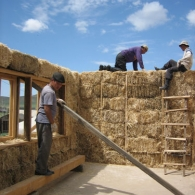 Building a load bearing straw bale house outside Ulaanbaatar | Photographer Ami Mehta