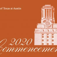 Orange graphic with the UT tower on one side, underneath text reads 2020 Commencement in script