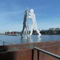 Molecule Man by Jonathan Borofsky sits in the River Spree at the intersections of Friedrichshain-Kreuzberg and Treptower-Köpenick