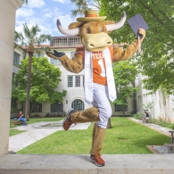Hook Em in the Goldsmith Hall Courtyard
