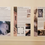 """Closer shot of posters in the """"Reckoning with the Past"""" exhibition from Dr. Tara Dudley's African American Experience in Architecture seminar"""