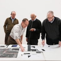 Rick Archer, Hiram Butler, and Tom Butler with Artist Ellsworth Kelly
