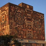 UNAM Biblioteca Central. Designed by Juan O'Gorman, Gustavo Saavedra, and Juan Martinez de Velasco, 1956.