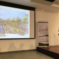 The Planning Director of Hermosillo presenting the project at the Green Infrastructure Forum, Saltillo, MX, September 2016.