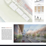 General floor plan, sustainability diagrams, exterior rendering and rendered section.