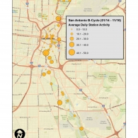 Map of Average Daily Bikeshare Activity by Station (San Antonio, TX)