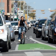 Bicyclist navigates car traffic on Guadalupe Street in Austin, Texas. Image by the Texas A&M Transportation Institute (TTI).