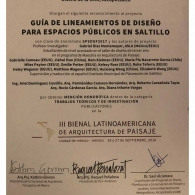 Honorable mention award from the Third Landscape Architecture Biennale
