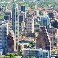 Downtown Austin skyline from above