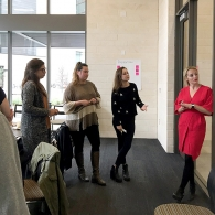 Expert advisor Rebekkah Schear facilitates a workshop with students providing insights into the patient journey