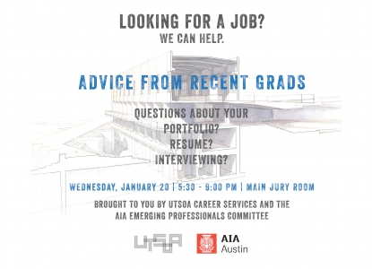 UTSOA + AIA Career Fair Prep Workshop - Wednesday, January 20 at 5:30pm - Main Jury Room